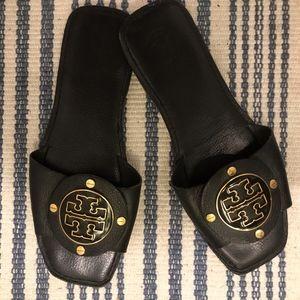 Tory Burch Flat Black Leather Sandals